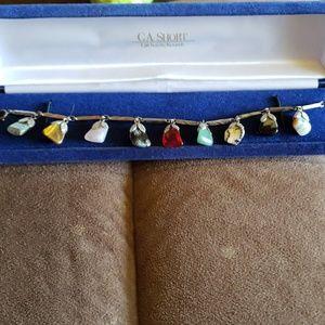 Gorgeous vintage polished stone bracelet
